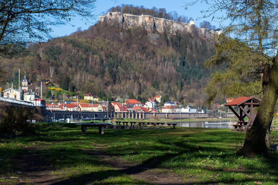 Beste Lage an der Elbe mit Blick zu Festung: An den Elbwiesen in Königstein soll ein Kulturgarten entstehen.