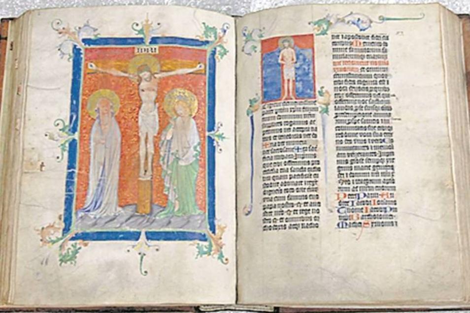 Missalien Die im Altbestand der Bibliothek aufbewahrten Zittauer Missalien stammen aus dem 15. und frühen 16. Jahrhunderts. Die sieben in Leder gebundenen Pergament-Messbücher sind Meisterwerke der Buchmalerei der Spätgotik und farbenprächtig gestaltet.Fo
