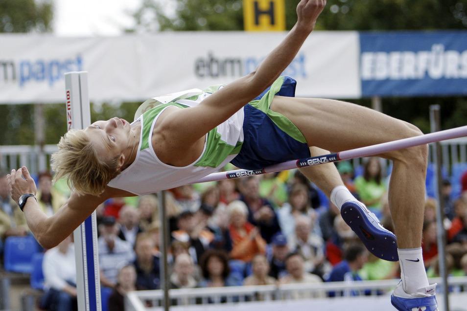 Andrej Silnow bei einem Hochsprung-Meeting in Eberstadt bei Heilbronn im Jahr 2007. Ein Jahr später holte er bei der Olympiade in Peking Gold für Russland.
