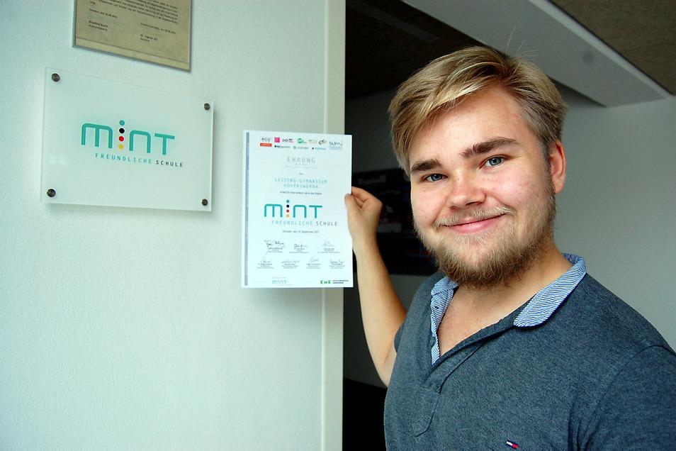 Auch Schüler Tom Hein ist Teil der Mint-Förderung bei Lessing's. Foto: Mirko Kolodziej