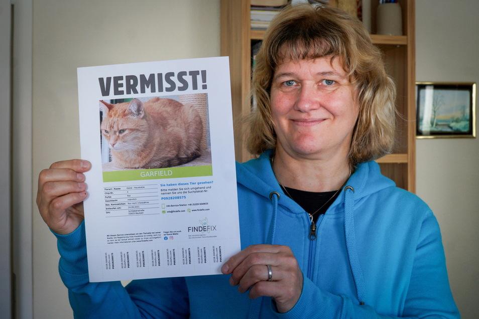 Aufatmen bei Annett Pallmer in Bautzen: Mit dieser Vermisstenanzeige suchte sie nach ihrem Kater Garfield. Jetzt ist er wieder da - und nicht wie vermutet einem Katzendieb zum Opfer gefallen.