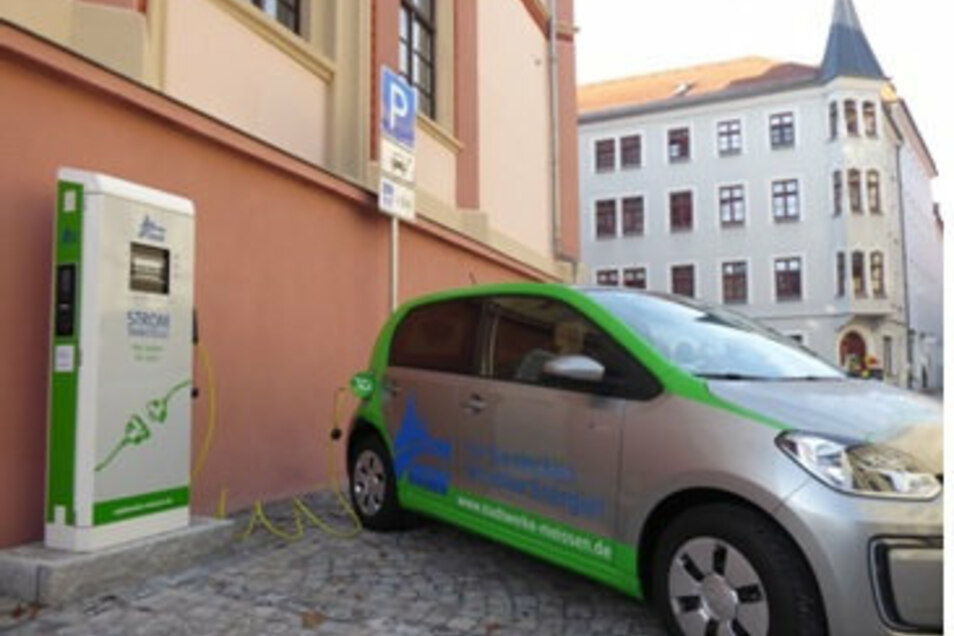 Die neue Ladesäule für E-Autos am Schulplatz.