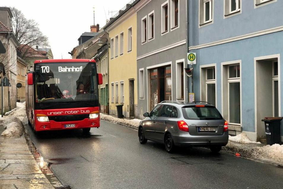 Die Bushaltestelle an der Pulsnitzer Straße in Kamenz in Höhe der Alten Baderei stadtauswärts wird ab nächstem Montag abgeschafft.