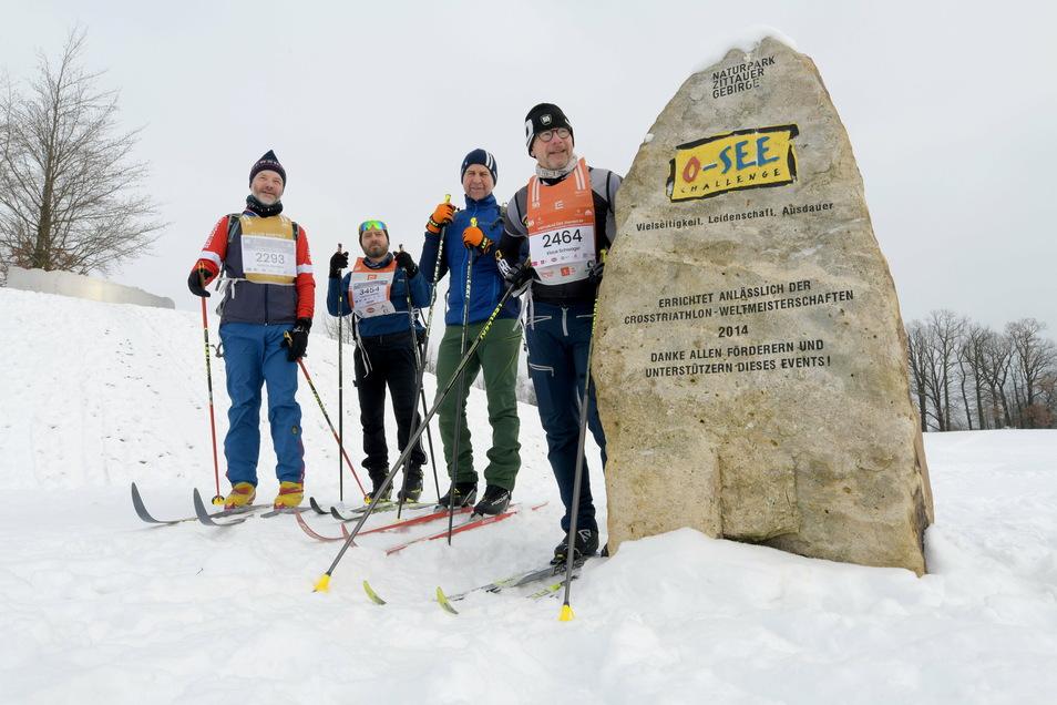 Da der Isergebirgslauf ausfällt, starteten am Sonnabend Benno Schwager, Roland Friebolin, Claudius Soukup und Roland Altmann (von rechts) zu einem Lauf durch das Zittauer Gebirge.