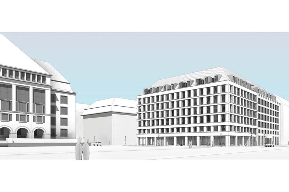 Frühere Entwürfe sahen vor, dass Erd- und Zwischengeschoss optisch weniger stark getrennt werden, sodass das Erdgeschoss imposanter und großstädtischer wirken würde.
