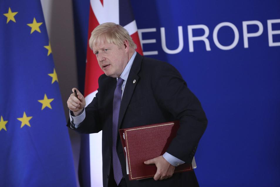 Premier Boris Johnson hat versprochen, Großbritannien am 31. Oktober - also in etwa eineinhalb Wochen - aus der Europäischen Union zu führen.