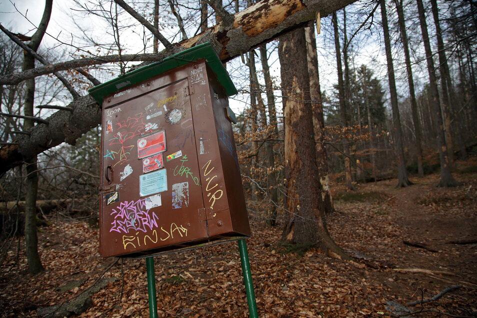 Box für die Erste Hilfe in der Sächsischen Schweiz: zerstört durch umgestürzten Baum.