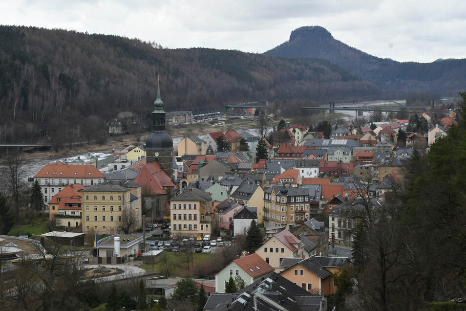 Blick auf Bad Schandau vom Ostrauer Aufzug.