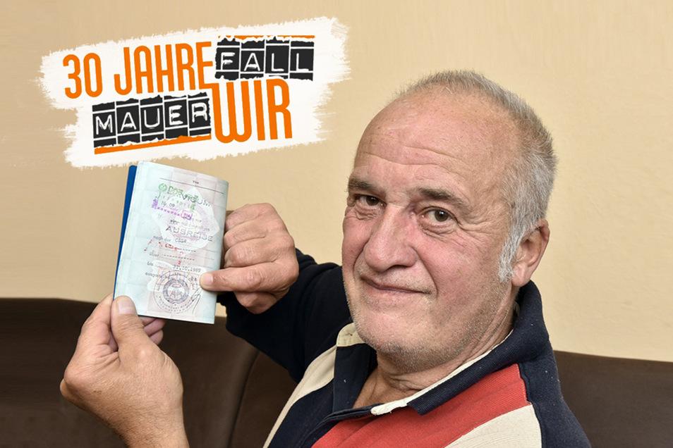 Michael Seidel hat sich das vor 30 Jahren erkämpfte Stück Papier bis heute gut aufgehoben: den DDR-Personalausweis mit dem Sondervisum für die CSSR.