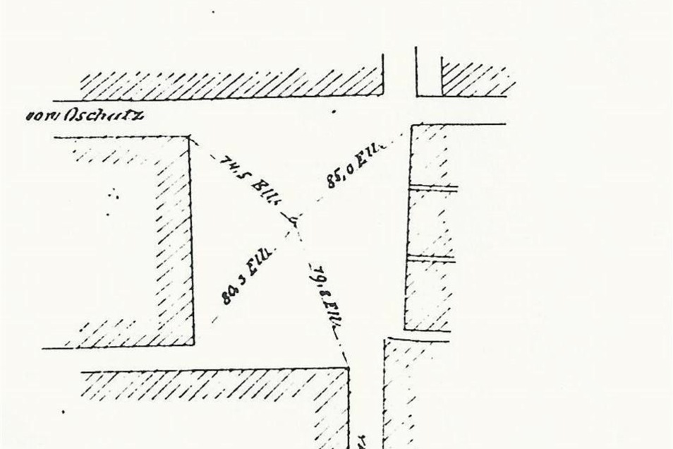 Blick in die Vermessungsakte: Das Kreuz mitten auf dem Strehlaer Marktplatz ist Ausgangspunkt der Messung.