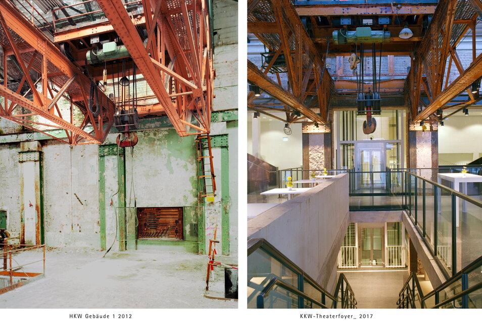 Das Kraftwerk in Mitte 2012 (l.) und nach seiner Umgestaltung zum Theaterfoyer fünf Jahre später.