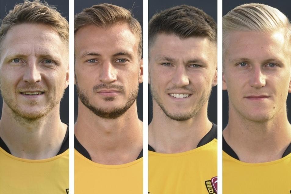 Die vier Verletzten, die Dynamo in München fehlen: Marco Hartmann, Pascal Sohm, Robin Becker und Luka Stor.