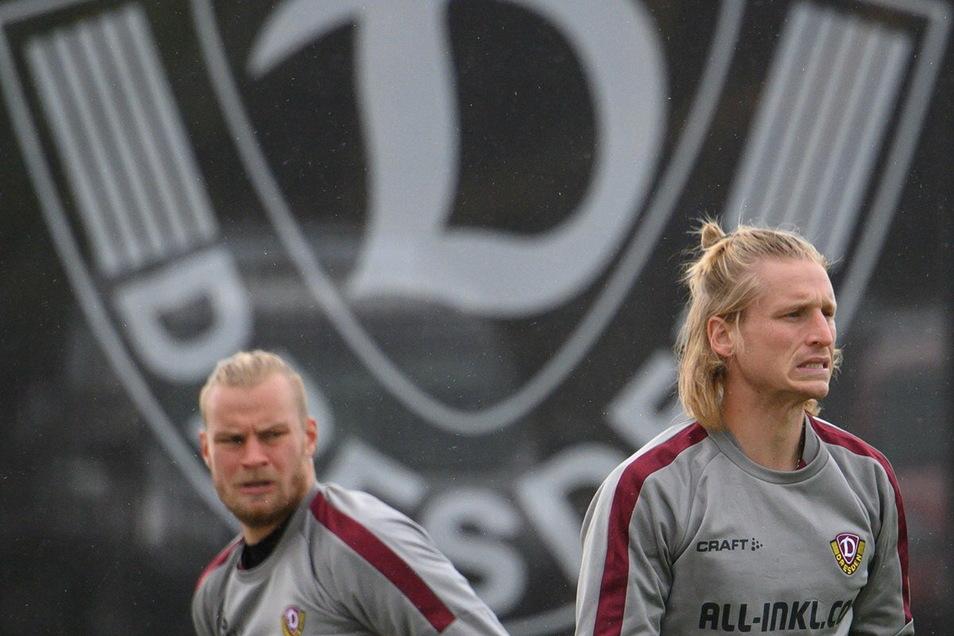 Sie zählen zu den wichtigsten Spielern bei Dynamo: Kapitän Sebastian Mai und Rückkehrer Marvin Stefaniak. Ihre Mienen passen zur Lage, beide drohen für das Ostduell gegen Rostock auszufallen.