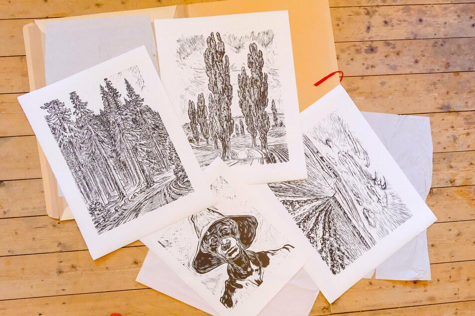 Diese vier Motive konnte die Malerin und Grafikerin Maja Nagel jetzt von Druckplatten aus den Nachlass des Künstlers Erich Fraaß in kleinen Serien nachdrucken. Die Blätter werden jetzt zugunsten des Käthe-Kollwitz-Hauses Moritzburg verkauft.