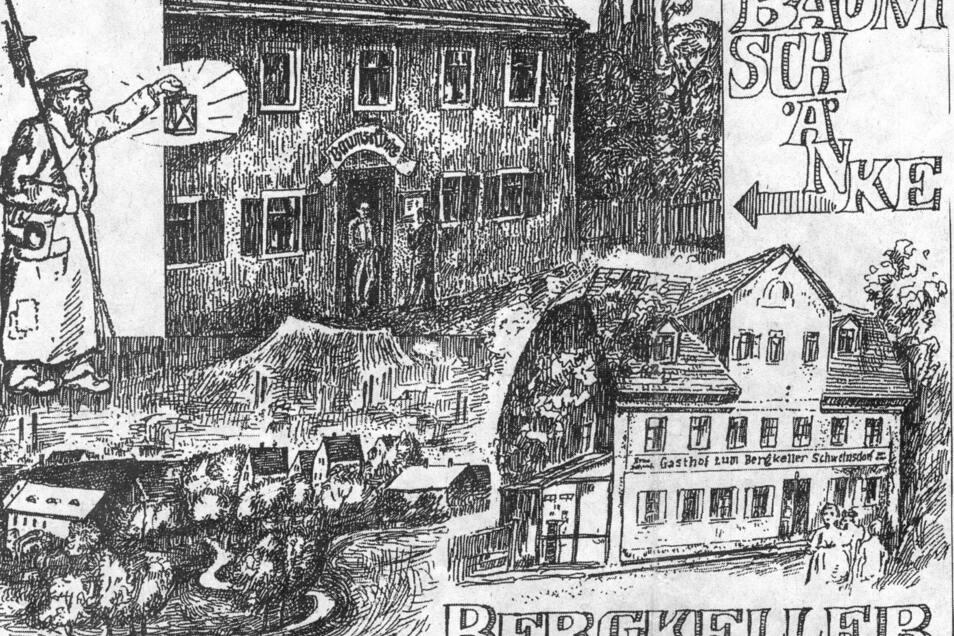 Schweinsdorfer Bilderbogen, gestaltet von Siegfried Huth. Man sieht unter anderem die Baumschänke, ein Stück des Ortsbildes und Nachtwächter Otto.