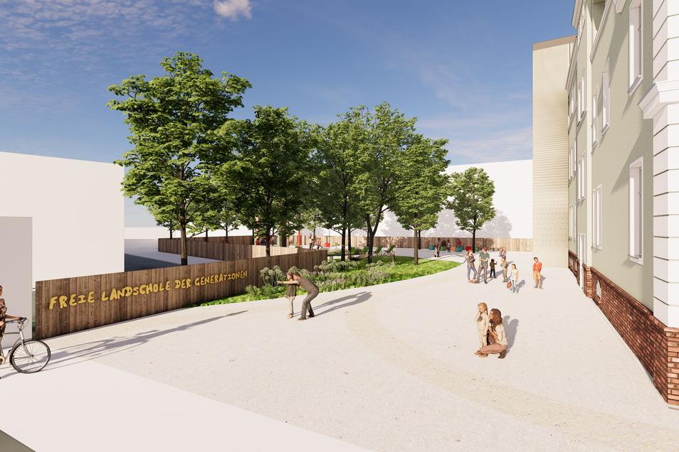 So könnte der Schulhof der neuen Schule aussehen.