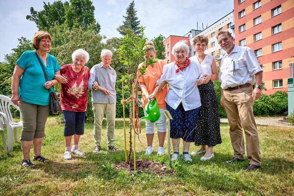 Irene Fels (weiße Bluse) spendet ein Symbol der Hoffnung: einen Mispelbaum.