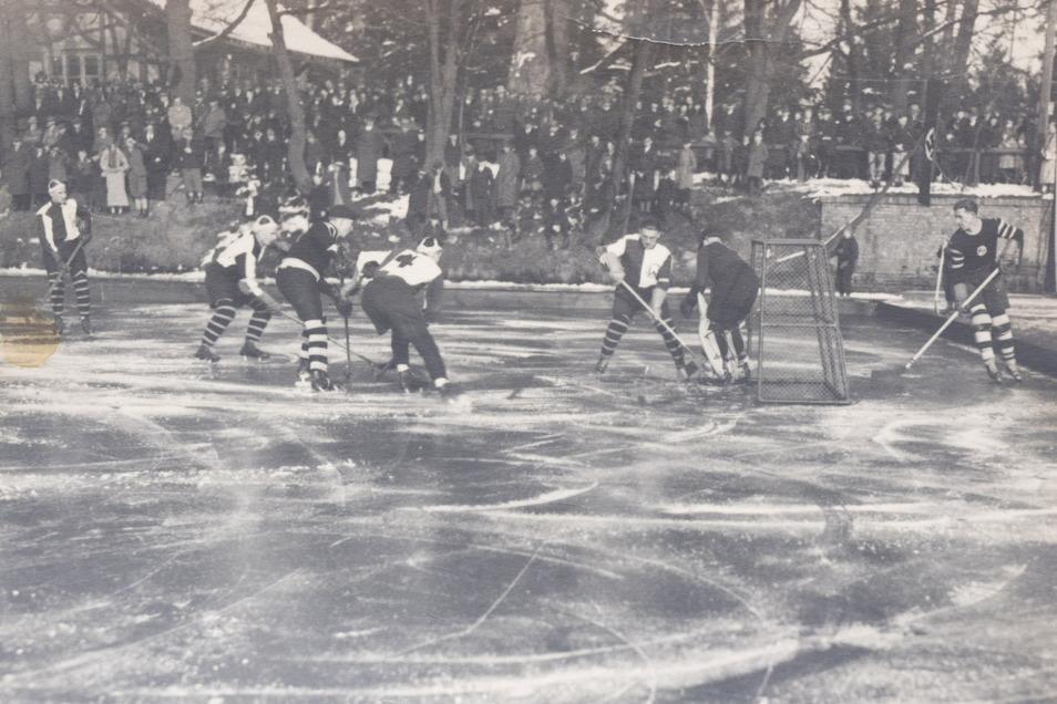Ab den 1930er-Jahren wurde auf dem Braunsteich in Weißwasser vor dem Waldhaus Eishockey gespielt.