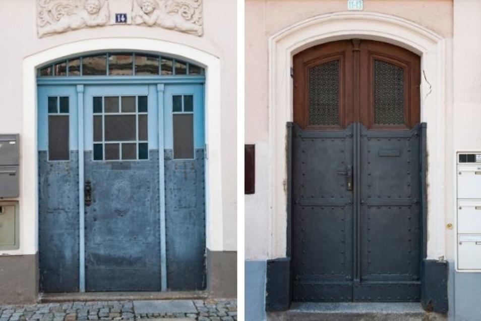 Tür und Relief desHauses in der Schlossstraße 14 (links) datieren um 1900 bzw. 1905. Das Gebäude steht unter Schutz. In der Berliner Straße 11-13 (rechts), gleich neben der Post, befindet sich ebenfalls eine schöne Haustür. Markant ist die untere Verblechung.