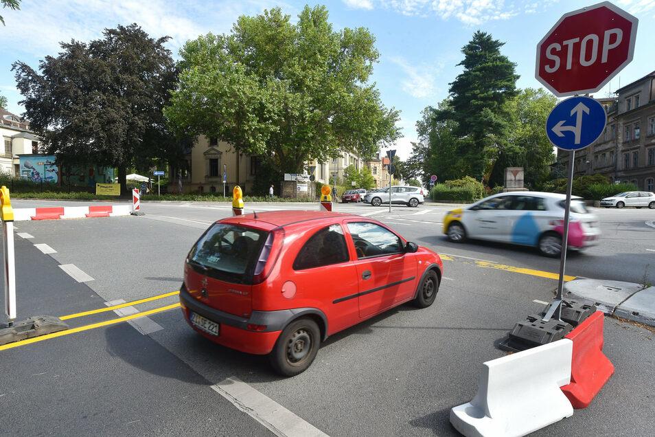 Auf der Kreuzung Stadtring/Klieneberger Platz in Zittau wird derzeit getestet, wie sich Unfälle vermeiden lassen.