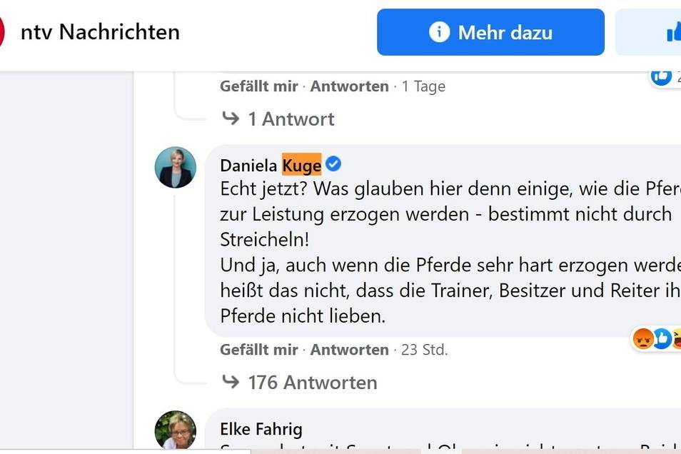 Der Kommentar der Meißner CDU-Landtagsabgeordneten Daniela Kuge bescherte ihr auf der NTV-Facebook-Seite bis Sonntagvormittag, kurz vor elf Uhr, 142 Emojis. 85 der Leser zeigten sich wütend. 42 Mal gab es den Daumen hoch.