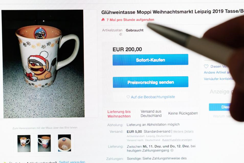 Bei Ebay werden horrende Preise für eine Tasse verlangt.