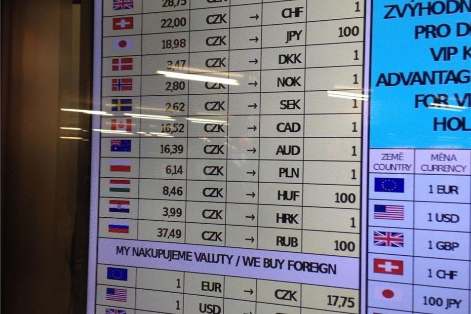 """Abzocke: Für einen Euro werden im Foyer der Metrostation """"Muzeum"""" nur 17,75 Kronen gezahlt. Oben steht der umgekehrte Tauschkurs, von Krone in Euro: 25,55 Kronen."""