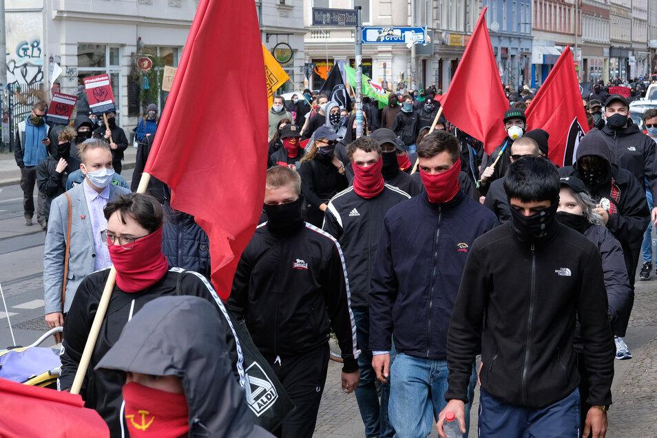 Demonstration am 1. Mai in Connewitz.