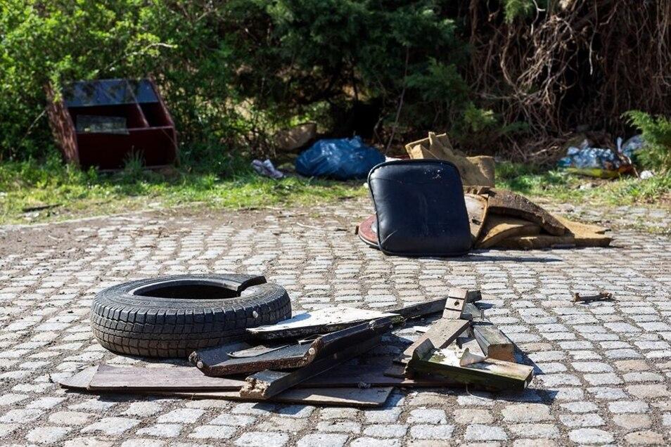 Beim Frühjahrsputz in den Freitaler Stadtteilen fand sich allerlei Unrat, von alten Autoreifen bis zerschlissenen Sitzpolstern. Eigentlich ist das ein Fall für den Sperrmüll.