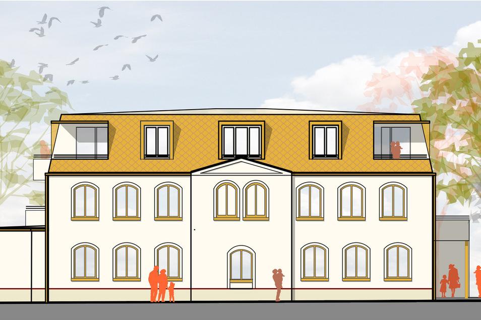So planen die Investoren und Architekten den Umbau des früheren Gast- und Gotteshauses in Bretnig: Die historische Fassade bleibt erhalten. Das Dach wird neu gestaltet. Dazu gehören auch Balkone für alle Wohnungen in den Obergeschossen.
