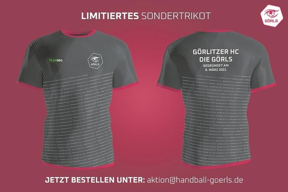 So sehen sie aus, die Sondertrikots des neuen Görlitzer Handballvereins anlässlich der Gründung. Mit ihrem Verkauf sollen die neuen Trikotsätze für alle Mannschaften finanziert werden.