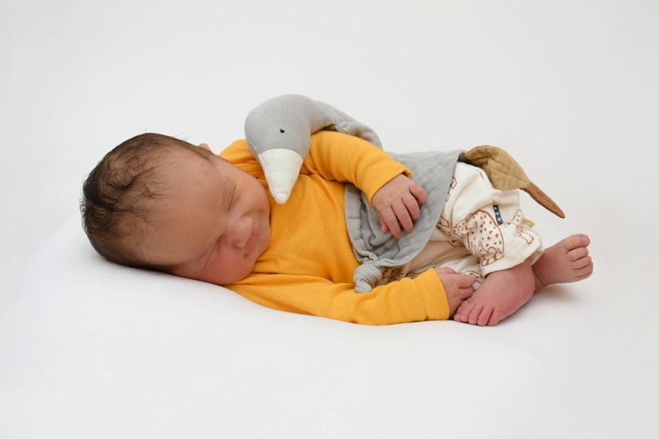 Leo Max, geboren am 16. Juli, Geburtsort: Freital, Gewicht: 4.250 Gramm, Größe: 56 Zentimeter, Eltern: Karolin Krautz und Marco Butze mit Nina Erna, Wohnort: Freital
