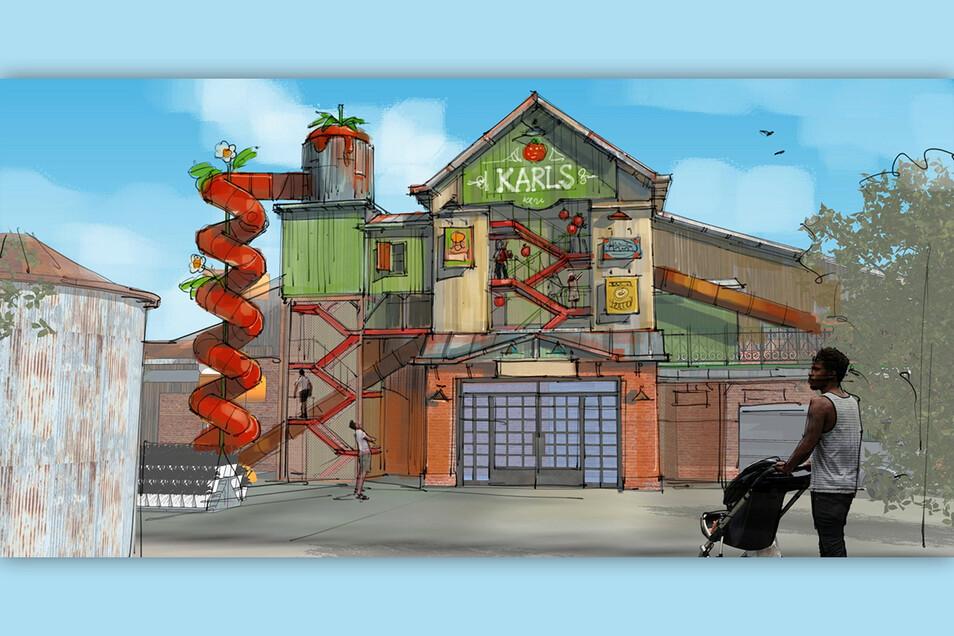 er Eingangsbereich noch mal aus der Froschperspektive. Karls will auf 2500 Quadratmetern Fläche Waren rund um die Erdbeere anbieten.