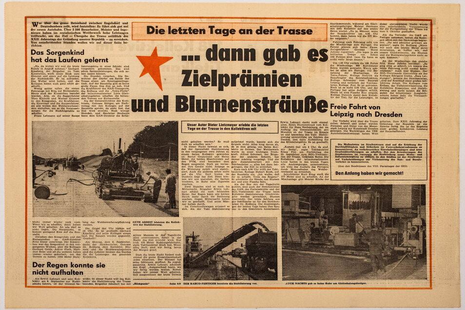 Zur Eröffnung der Autobahn erschien eine Sonderausgabe der Betriebszeitung des VEB Autobahnkombinat Magdeburg.