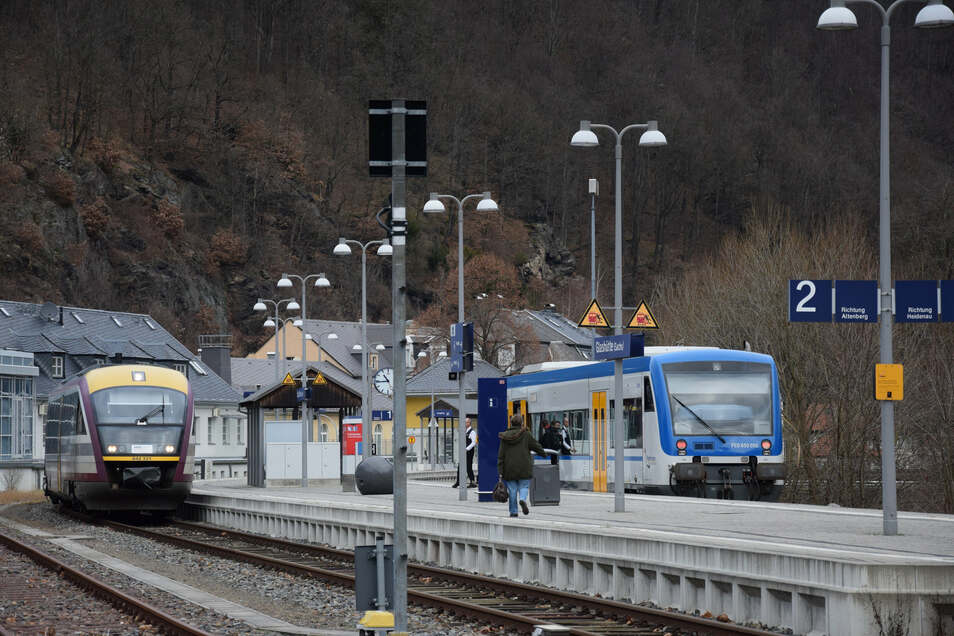 Die Bahnstrecke von Glashütte nach Altenberg wird derzeit nicht bedient.