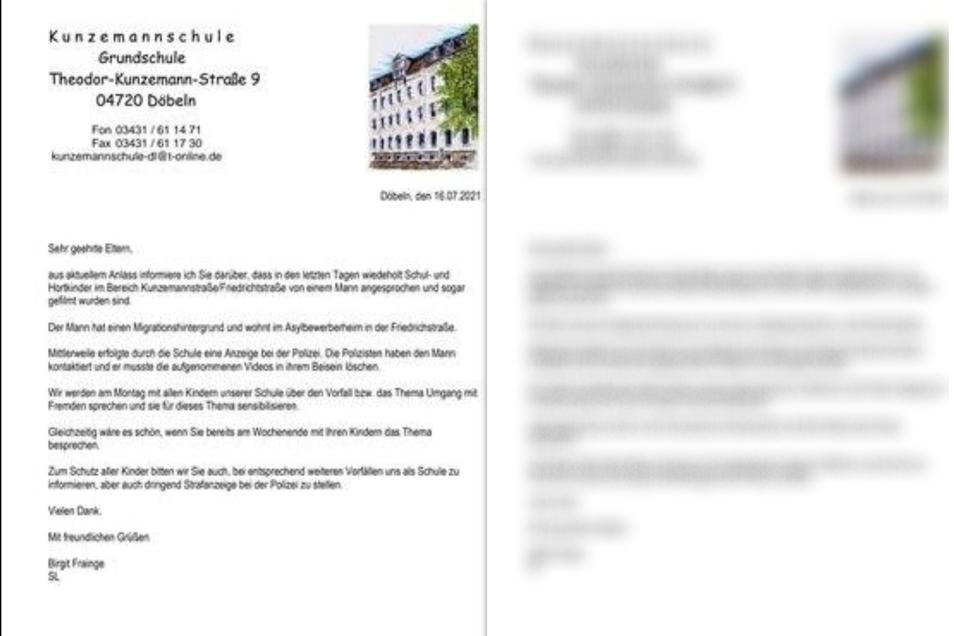 Diesen Elternbrief veröffentlichte die Döbelner Grundschule und gab ihn an die Eltern der Kinder weiter.