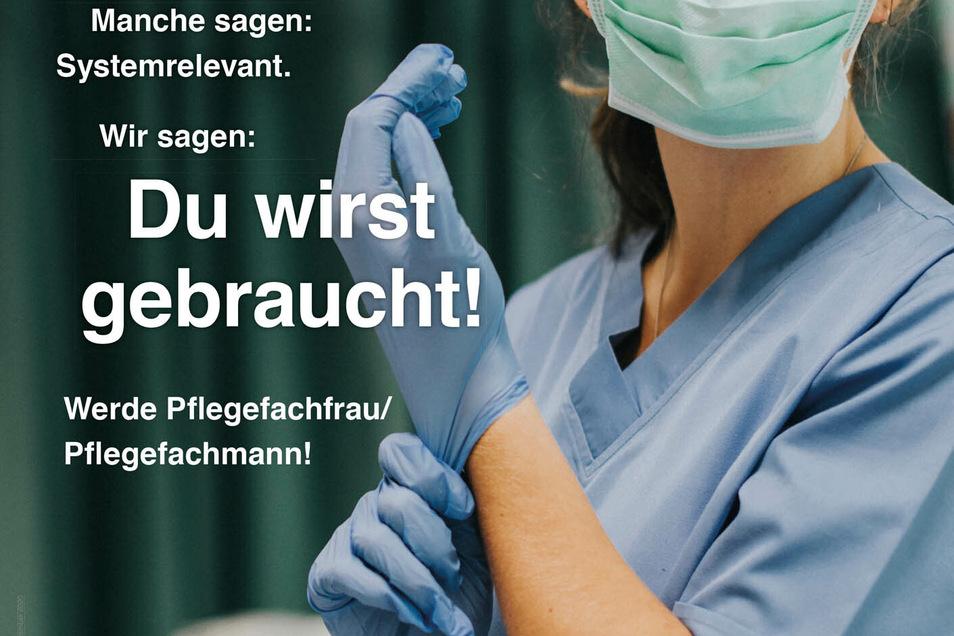 Mit City-Light-Plakaten wirbt das Städtische Klinikum Dresden um neue Azubis in der Pflege.