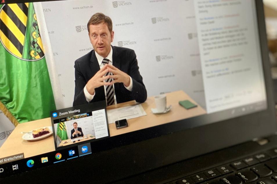 Per Videoschalte schlossen Sachsens Ministerpräsident Michael Kretschmer und sein bayrischer Amtskollege jetzt einen Grundstücksfall in Oppach ab.