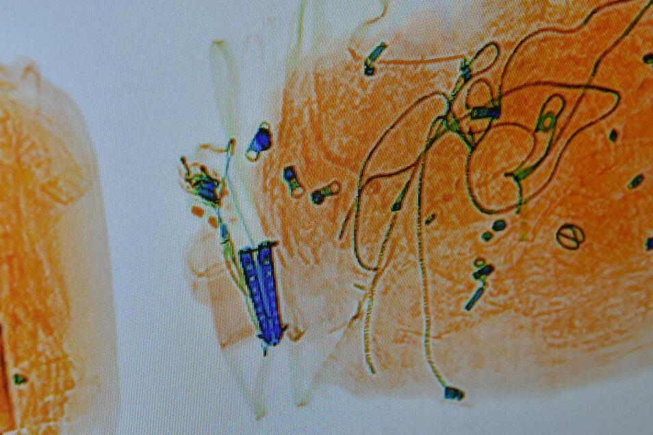 Treffer am Bildschirm des Röntgengerätes: Der blaue Doppelgriff gehört zu einem verbotenen Butterfly-Messer. Gefunden wurde es im Gepäck eines Moldawiers.
