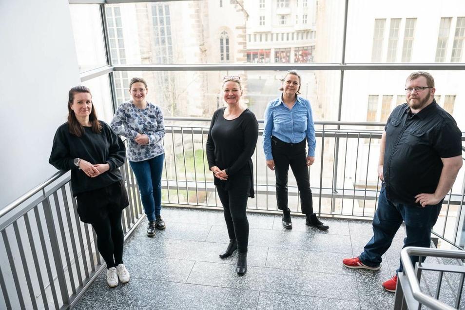 Einige aus dem Team des DDV Neisse Verlages in Görlitz (von links): Maria Reich, Katarzyna Silkeit, Geschäftsführerin Petra Rudolph, Ina Maria Kwiatkowski und Stefan Schumann.
