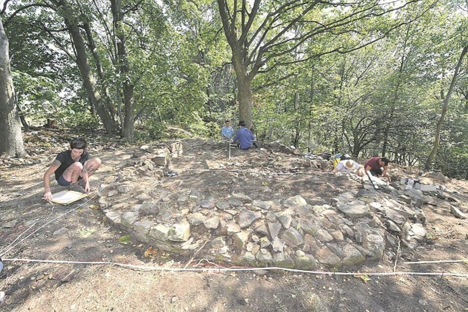 Studierende vermessen die Grundmauern des Lauensteiner Galgens im Detail. Er hat eine stattliche Grundfläche eingenommen.