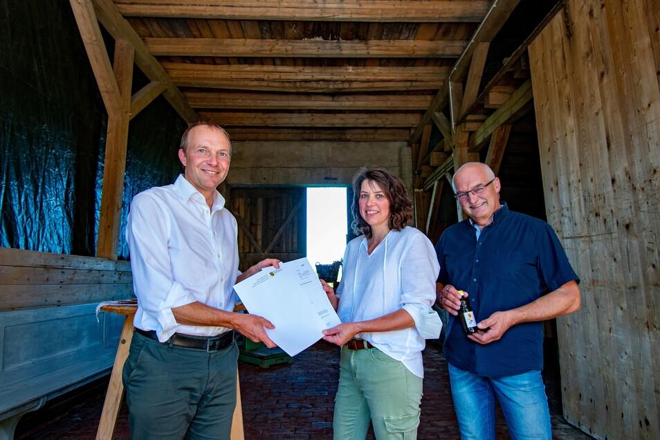 Landwirtschaftsmister Wolfram Günther (Bündnis 90/Die Grünen) war zu gast bei Familie Horlacher im Hofgut Gadewitz.