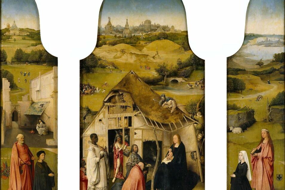 """Das Triptychon """"Die Anbetung der Könige"""" ist ein Werk des niederländischen Malers Hieronymus Bosch (um 1450–1516). Es ist um die Jahre 1496/97 von einem Antwerpener Stifter-Ehepaar in Auftrag gegeben worden, hängt jetzt jedoch in Madrid."""