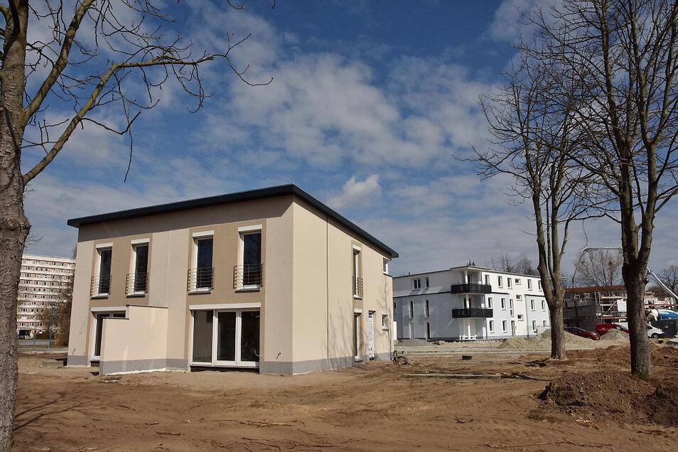Vorn eine Süba-Doppelhaus mit dem aktuellen Farbkonzept, hinten Haus Scheibe-See der Wohnungsgesellschaft.