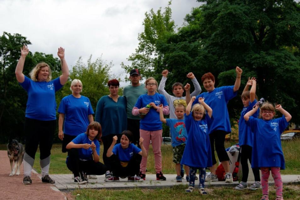 Auch das Diakonie-Familienzentrum Gröditz beteiligte sich auf dem Sportplatz an der Aktion.