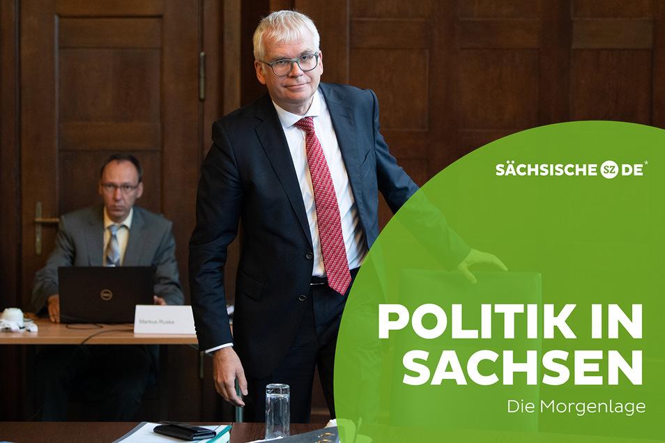 Sachsens Finanzminister Hartmut Vorjohann (CDU) am Montag zu Beginn der Haushaltsklausur