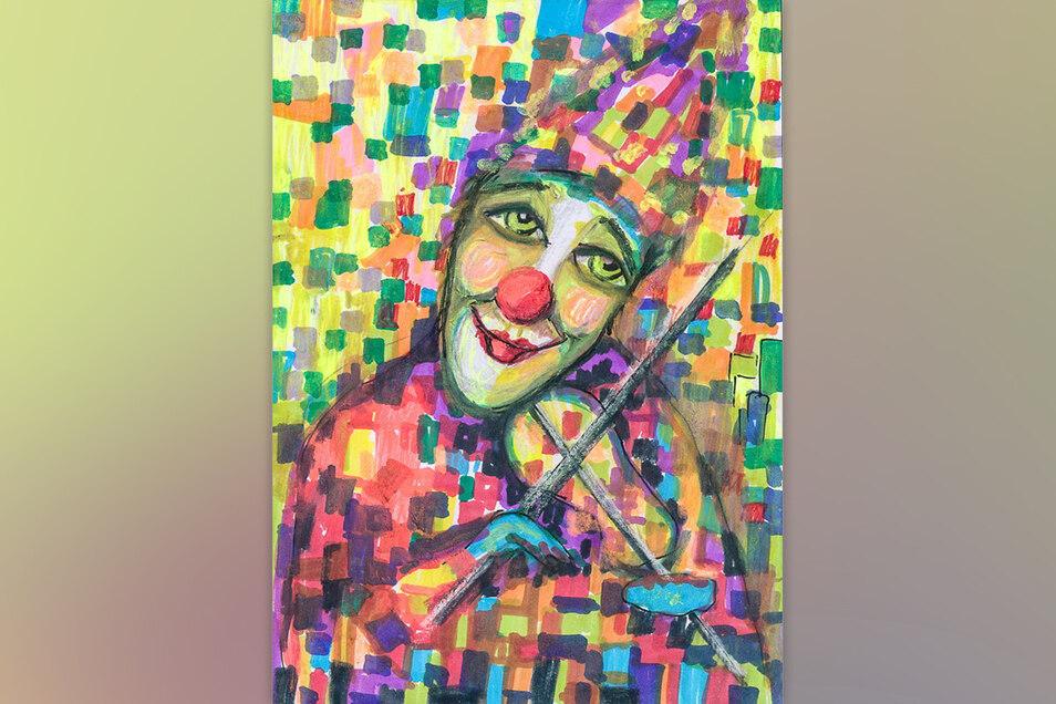 """Petra Heiden nannte ihre farbenfrohe Einsendung mit dem geigespielenden Clown """"Mutmacher""""."""