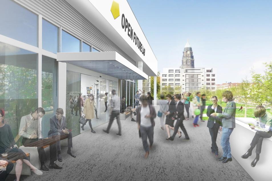 """Im """"Open Future Lab"""" sollten Wissenschaft, Wirtschaft und Kunst vereint werden, der Entwurf stammt von der Technischen Hochschule Dresden."""