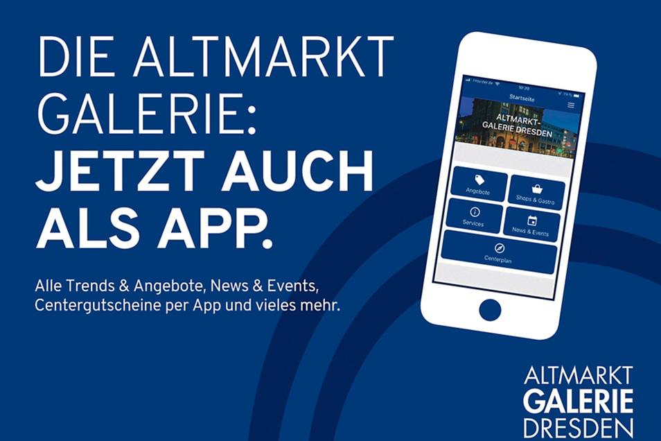 Mit der kostenfreien Altmarkt-Galerie-App gibt's zahlreiche Services des Centers jetzt quasi für die Hosentasche.