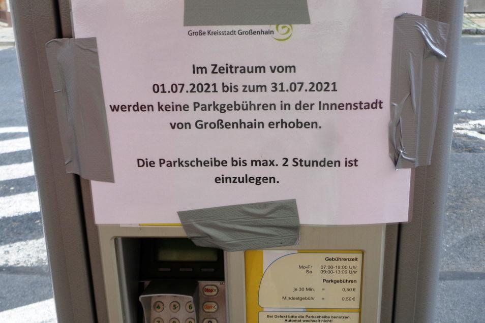 Parkautomaten in Großenhain wurden vor der Juli-Regelung für begrenztes freies Parken in der Innenstadt mit diesem Vermerk gekennzeichnet. Droht eine gut gemeinten Geste jetzt ins Gegenteil verkehrt zu werden?